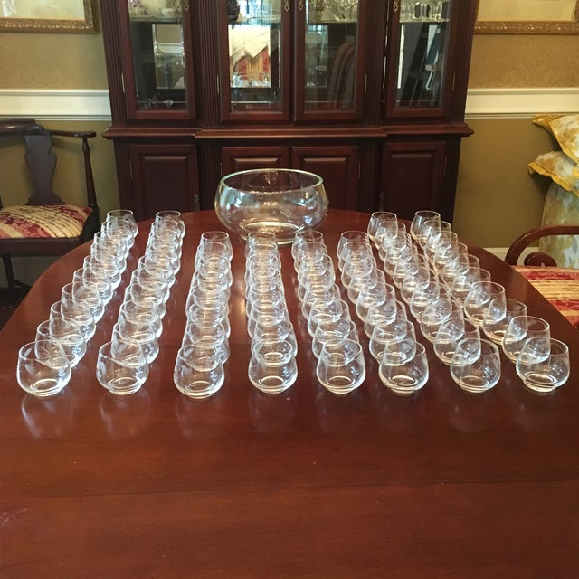 Ambassador to Italy's Crystal Punch Glasses & Bowl - Set of 73 For Sale - Image 12 of 12