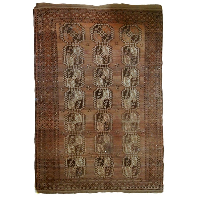 1900s handmade antique Afghan Ersari rug 8.6' X 11.8' For Sale