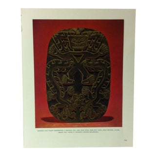 """Circa 1960 """"Embossed Gold Plaque Representing a Crocodile God"""" Treasures of Ancient America Mounted Print For Sale"""