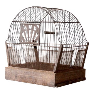 Antique Distressed Crown Bird Cage For Sale
