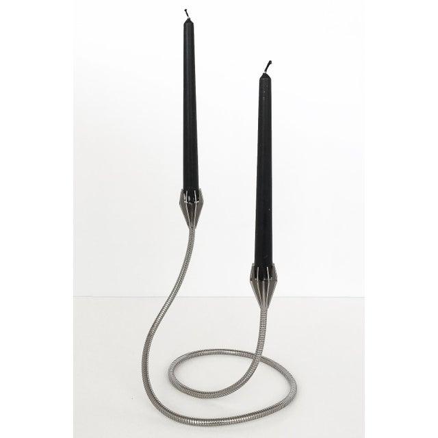 Mid-Century Modern Chrome Flexible Gooseneck Sculptural Candlestick For Sale - Image 3 of 9
