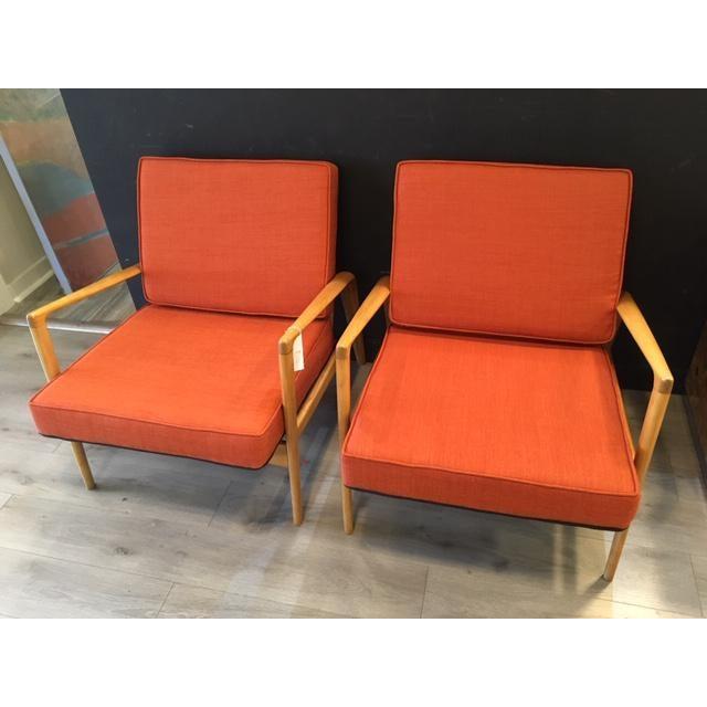 beautiful pair mid century newly upholstered arm chairs; reversible fabric-black/orange
