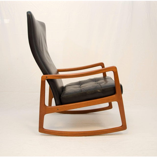 France and Son Danish Teak and Leather High Back Rocking Chair by Ole Wanscher For Sale - Image 4 of 11
