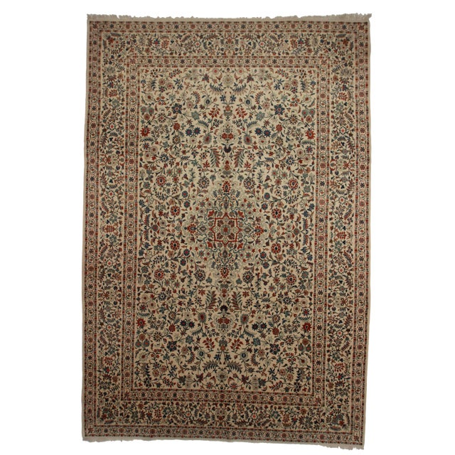 RugsinDallas Hand Knotted Wool Persian Kashan Rug - 9′5″ × 13′7″ For Sale