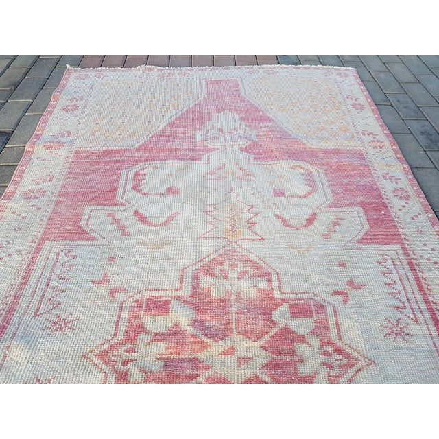 """Distressed Red and Yellow Turkish Rug 4'1"""" X 8'6"""" For Sale - Image 10 of 12"""