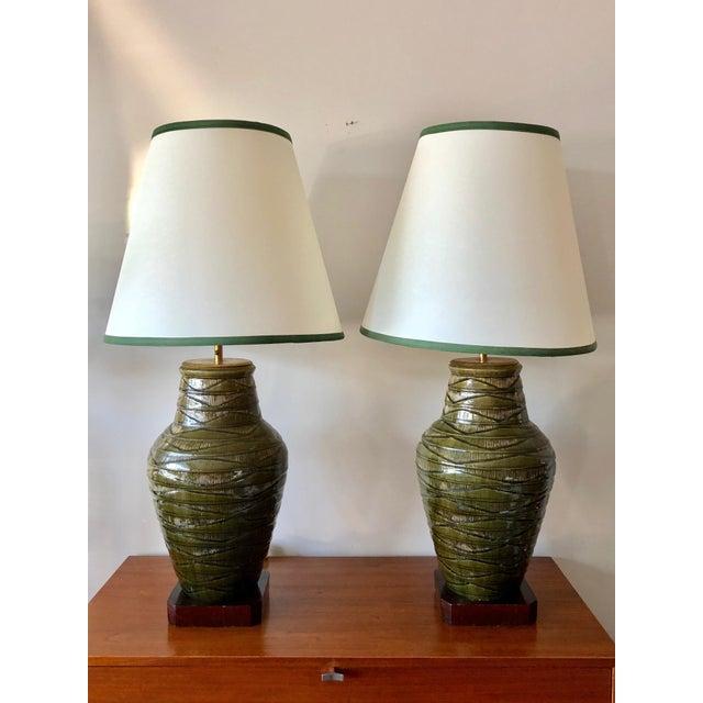 1950s Vintage Thai Celadon Green Porcelain Crackle Lamps - A Pair For Sale - Image 9 of 9