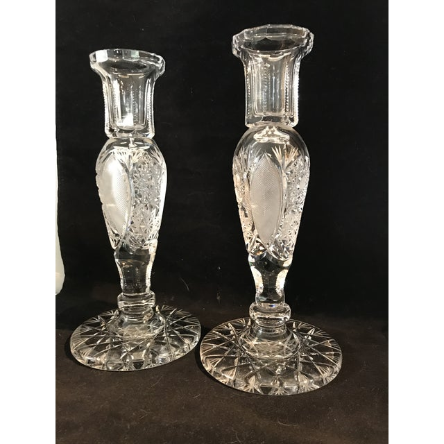 Vintage Large Cut Crystal Candlesticks - a Pair For Sale - Image 4 of 8