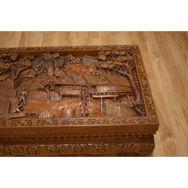 Asian Hand-Carved Teak Coffee Table For Sale - Image 5 of 9