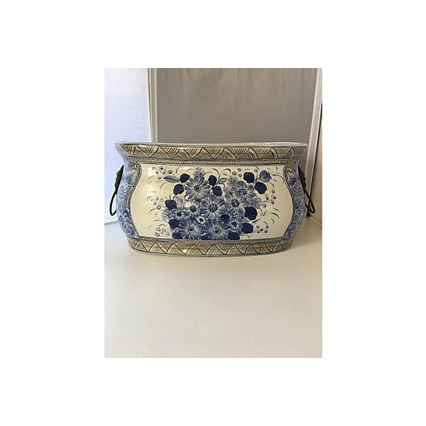Asian Maitland-Smith Chinoiserie Blue & White Planter For Sale - Image 3 of 5
