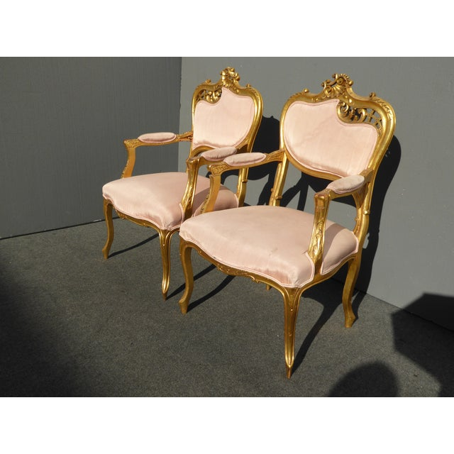 Vintage French Rococo/Louis XV Style Giltwood Accent Chairs- A Pair - Image 3 of 11
