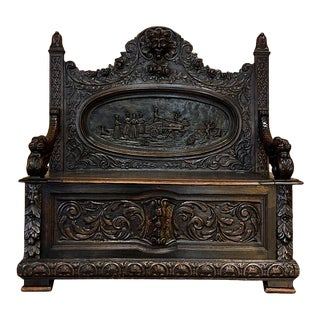 19th Century French Renaissance Hall Bench For Sale