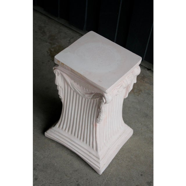Pink Pink Plaster Pedestal / Plant Stand / Side Table For Sale - Image 8 of 11