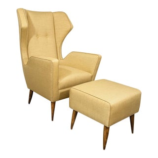 Custom Modernist Armchair and Ottoman For Sale