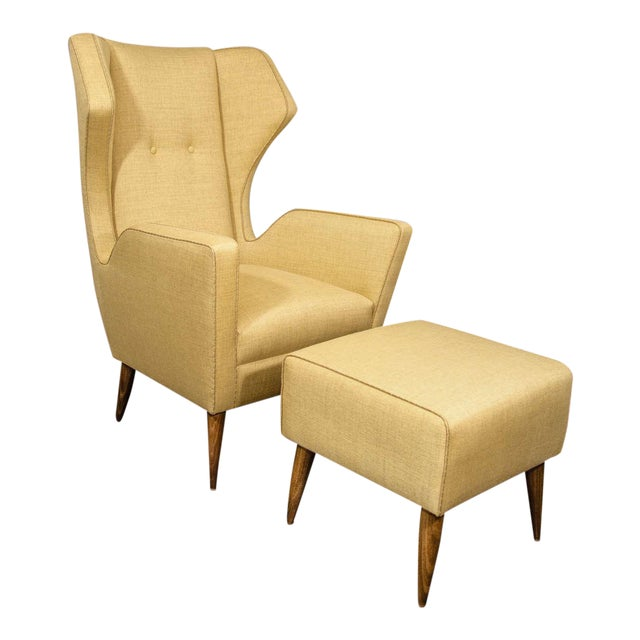 Custom Modernist Armchair and Ottoman For Sale