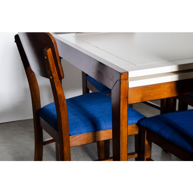 Contemporary Style Dining/Card Table with newly reupholstered chairs. Can be set up as a long dinner table for four or set...