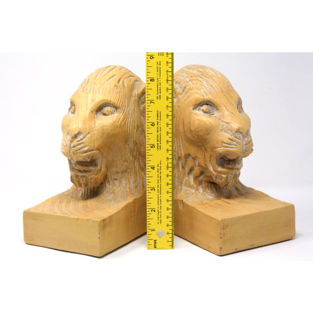 Vintage Hand Carved Lion Head Bookends For Sale - Image 9 of 10