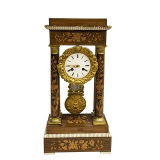 French Napoleon III Period Gilded Rosewood Inlaid Portico Mantle Clock For Sale