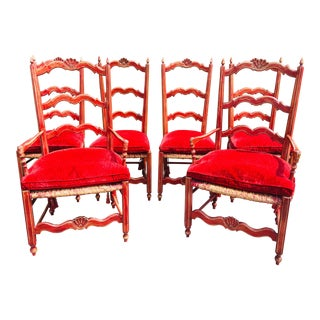 French Country Painted Dining Chairs - Set of 6 For Sale