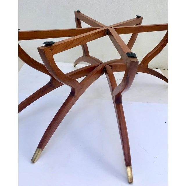 Brass Mid-Century Moroccan Style Etched Brass & Mahogany Spider Table For Sale - Image 7 of 10