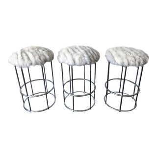 Vintage Chrome Tubular Bar Stools in Fox Fur - Set of 3