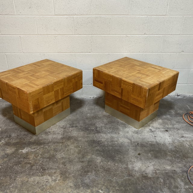 Brown 70s Parquet End Tables- a Pair For Sale - Image 8 of 11
