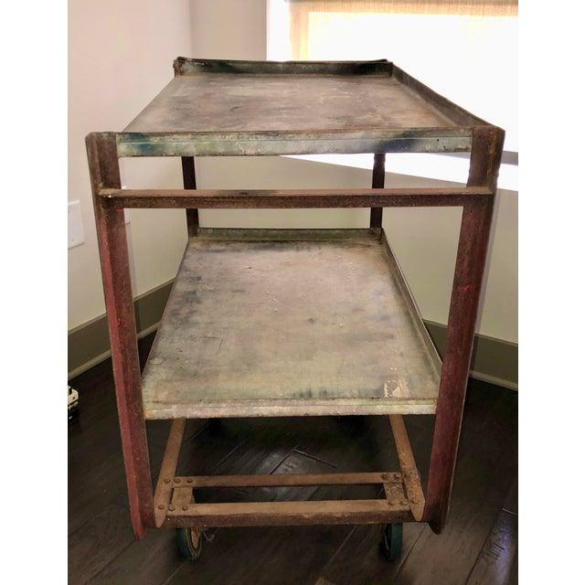 Rustic Vintage Industrial Bar Cart For Sale - Image 3 of 5
