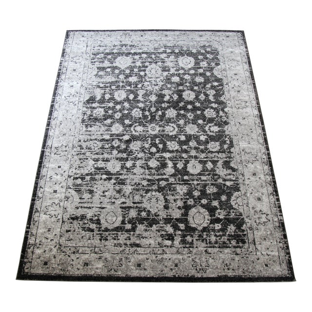 "Vintage Style Distressed Gray Rug- 5'3"" x 7'7"" - Image 1 of 5"