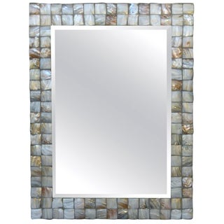 Mother-Of-Pearl Beveled Rectangular Framed Mirror For Sale