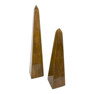 Acacia Wood Obelisk Statues - Set of 2