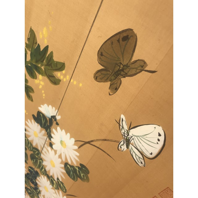 1940s Chinese Hand Painted Floral Screen or Mural For Sale - Image 5 of 12
