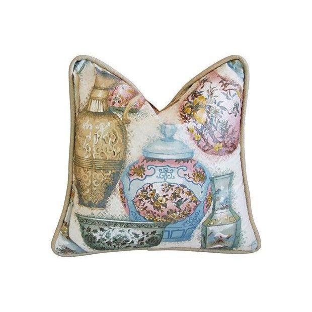 Custom Chinoiserie Vase Pillows - Pair - Image 2 of 7