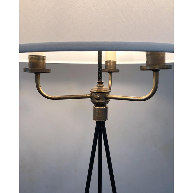 1940s Pair of Early Gerald Thurston Iron Floor Lamps For Sale - Image 5 of 9