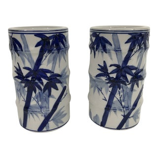 Blue and White Porcelain Bamboo Vases - a Pair For Sale