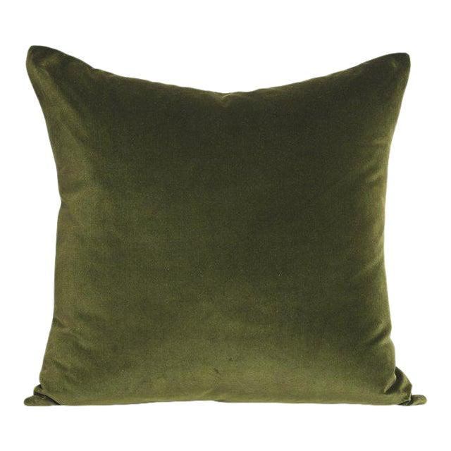 Contemporary Green Velvet Pillow - 22ʺW × 22ʺH For Sale