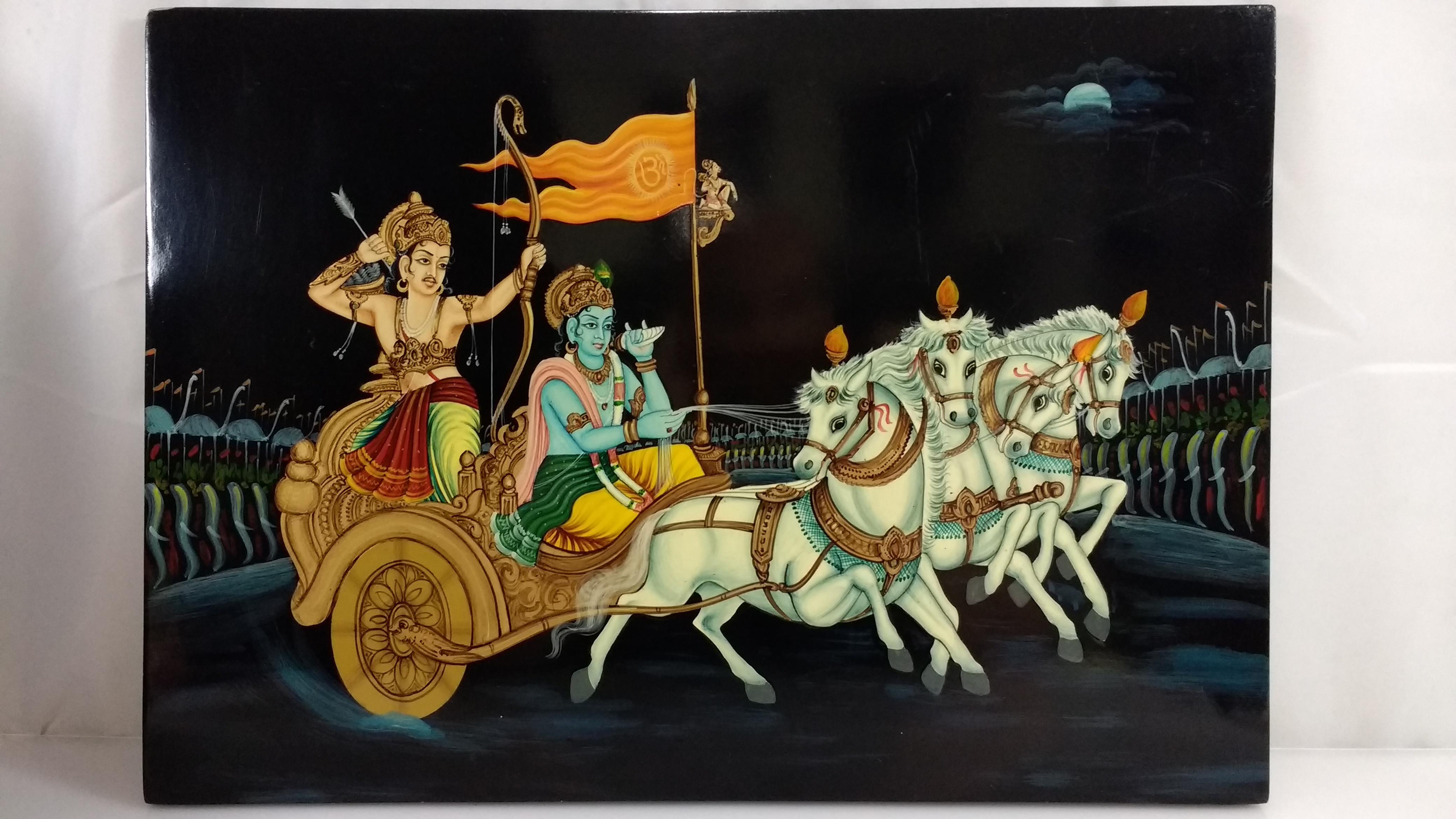 Hindu Krishna Arjun In Chariot Painting Chairish