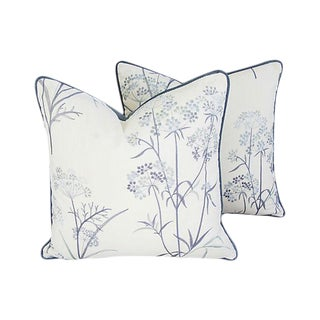 Designer Embroidered Blue Flower Pillows - A Pair