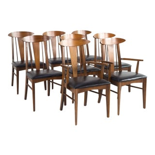 1960s Mid Century Modern Garrison Cats Eye Walnut and Vinyl Dining Chairs - Set of 8 For Sale