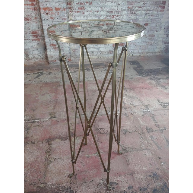 Gold French Director Empire Campaign Bronze Tall Side Table For Sale - Image 8 of 8