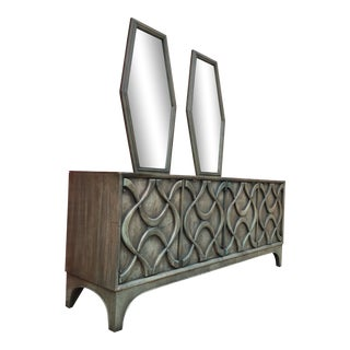 Stanley Mid Century Sculptural Storage Dresser With Coffin Mirrors For Sale