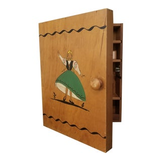 20th Century Folk Art Pine European Wall Sewing Cabinet For Sale