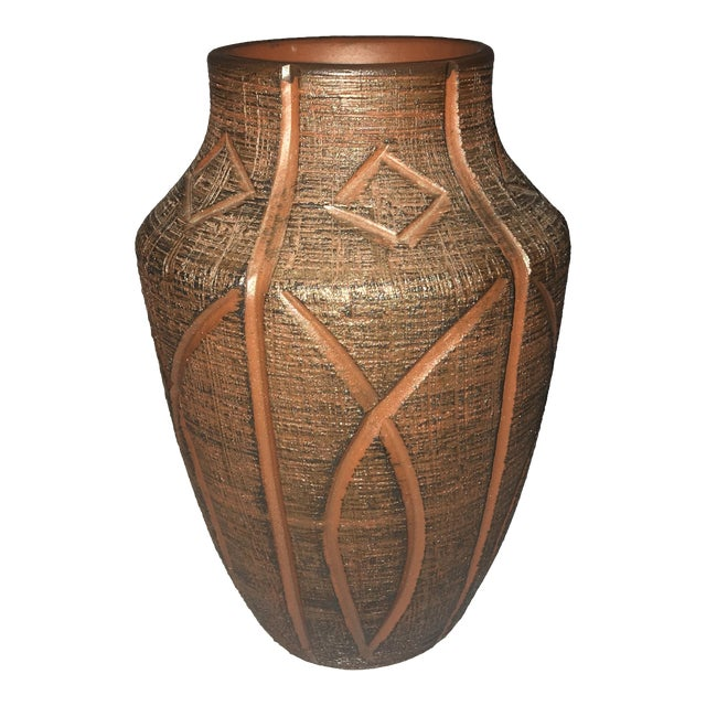 Red African Clay Geometric Vase - Image 1 of 3