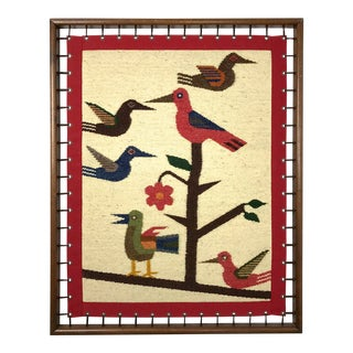 1970s Vintage Modernist Woven Bird Framed Fiber Wall Art For Sale