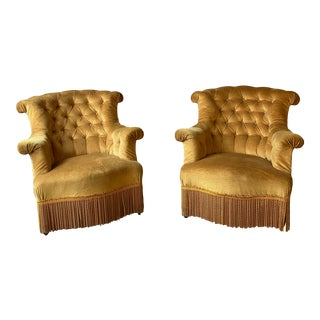 Antique Fringe Trim French Armchairs in Faded Gold Velvet - a Pair For Sale