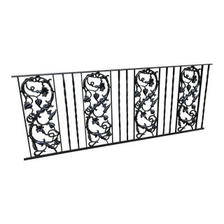 Restored Vintage Wrought Iron Railing With Cast Iron Pattern