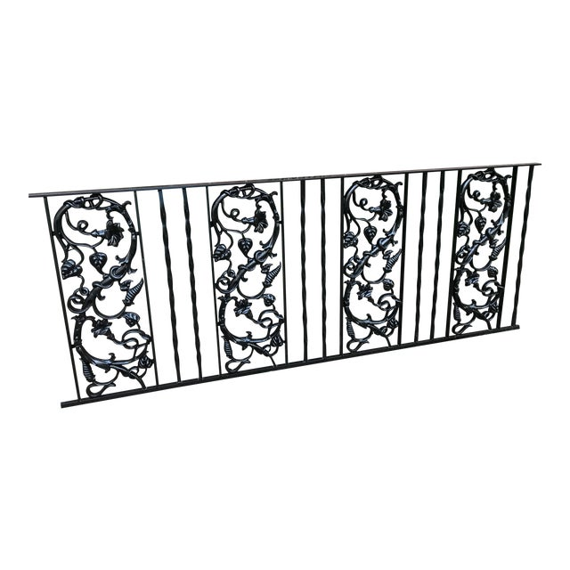 Restored Vintage Wrought Iron Railing With Cast Iron Pattern - Image 1 of 4