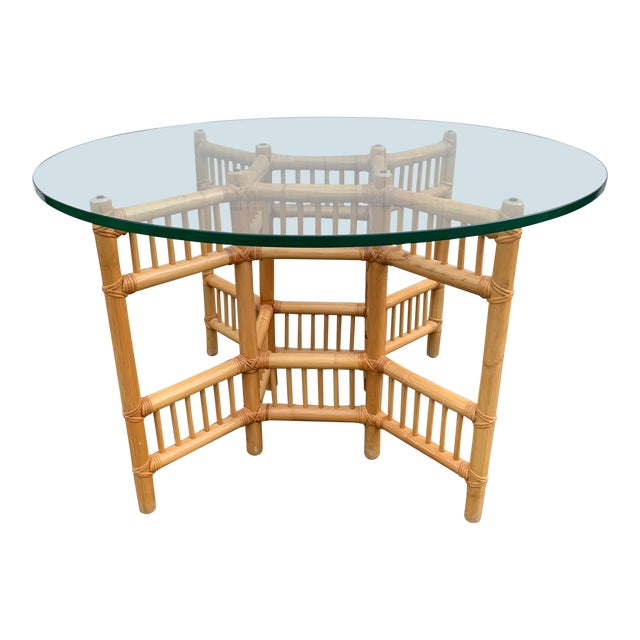 Willow and Reed Bamboo and Glass Round Dining Table For Sale