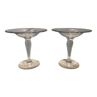 Clear Glass Pedestal Dishes - A Pair For Sale