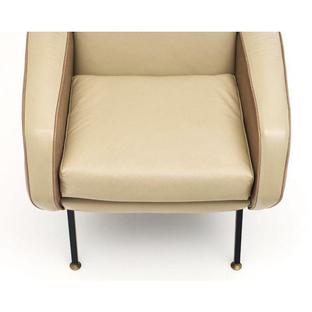 French Modernist Two-Toned Leather Armchairs - a Pair For Sale - Image 9 of 12