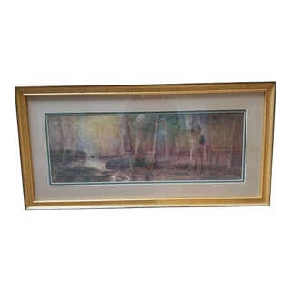 Early 20th Century Antique d.f. Hasbrouck Forest Scene Watercolor Painting For Sale