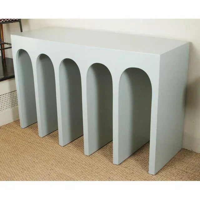 Minimalist Curved Front Console With Arches in Hedge Green by Martin and Brockett For Sale - Image 4 of 6